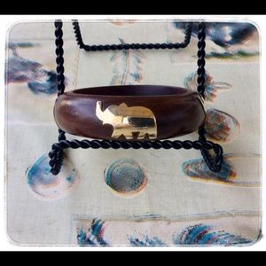 Vintage Wooden Bangle with Brass Elephants.